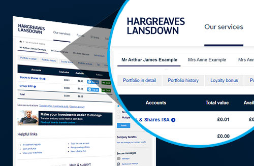 An example of the linked accounts function available from Hargreaves Lansdown