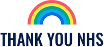 rainbow over text: 'thank you NHS'