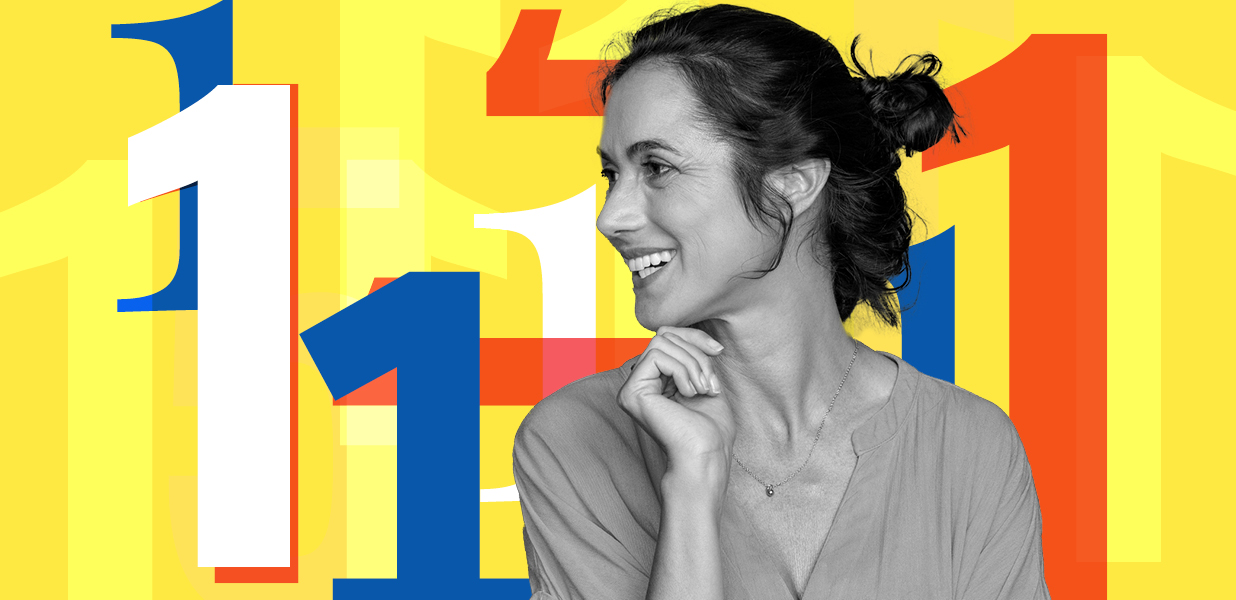 Image of a woman smiling infront of a number 1 graphic