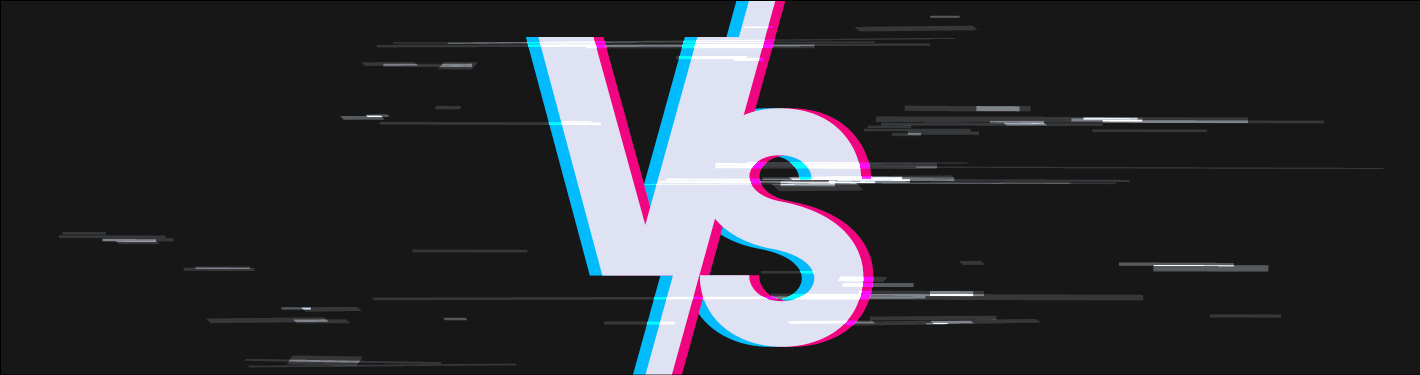 'Vs' letters infront of a black background